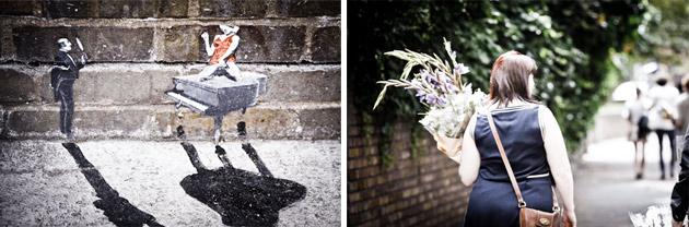 tiny graffitti and woman carrying flaowers - columbia rd, london