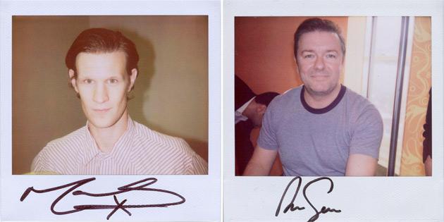 Matt Smith and Ricky Gervais - polaroids