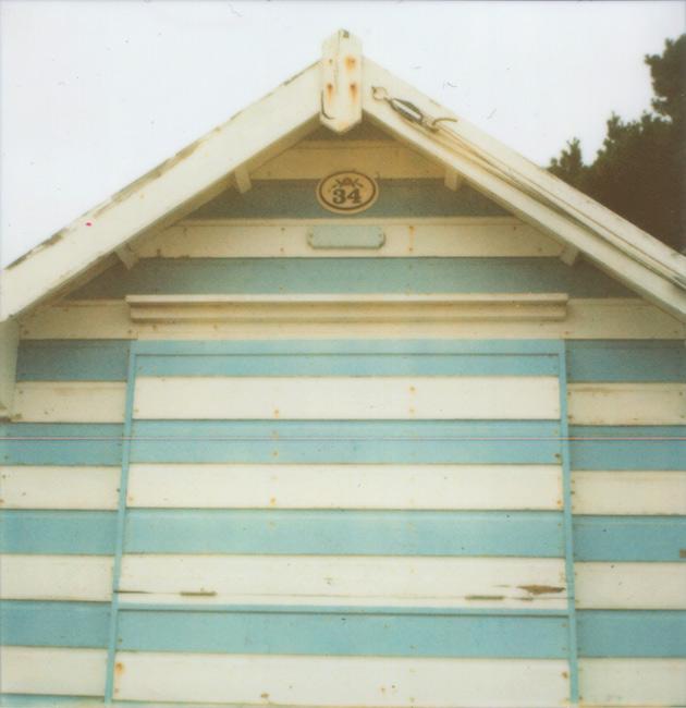 stripey beach hut - Polaroid SX-70