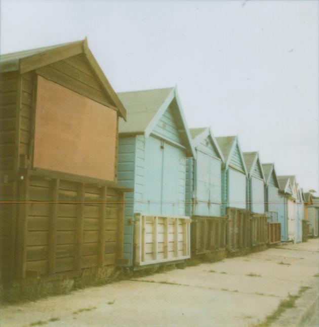 row of beach huts - Polaroid SX-70