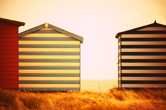 cross processed (orange) - beach huts