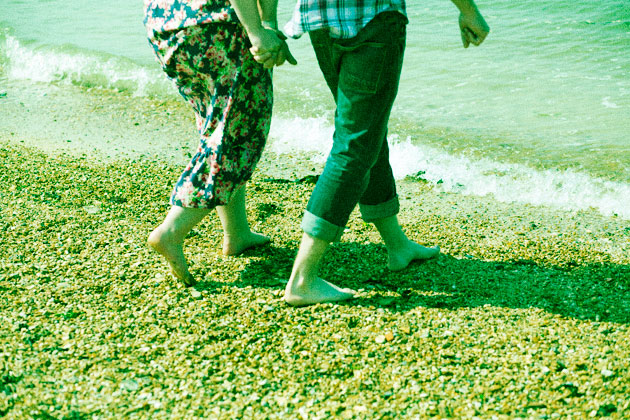 cross processed (green) - beach walk