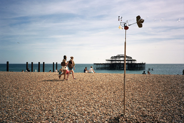 brighton beach with mobile