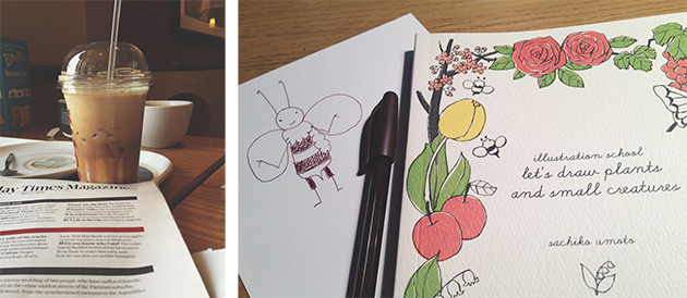 latte and drawing book